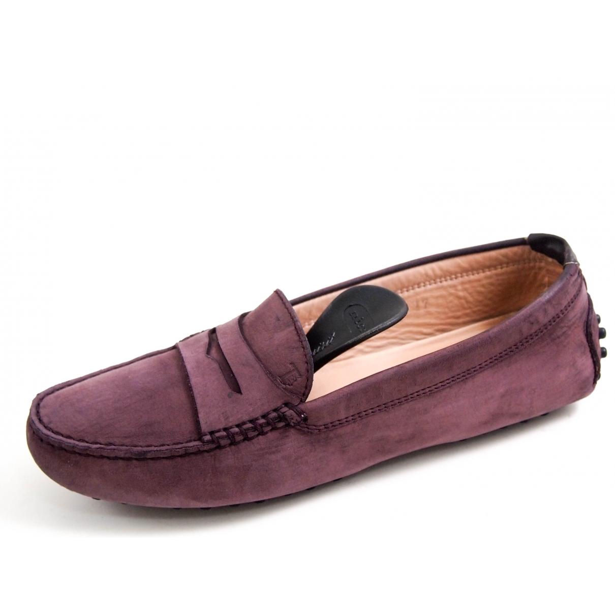 Tod's Gommino Purple Suede Flats for Women 37 EU