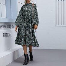 A-Linie Kleid mit Bluemchen Muster und Stehkragen