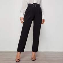 Pantalones a medida con bolsillo oblicuo de cintura ancha asimetrica con botones