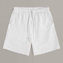 Shorts de hombres de rayas con bolsillo oblicuo de cintura con cordon