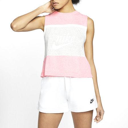 Nike Womens Crew Neck Sleeveless Tank Top, Medium , Pink