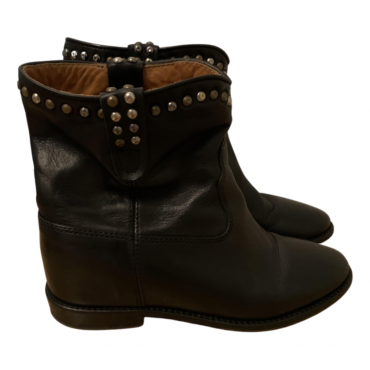 Isabel Marant Crisi  Black Leather Ankle boots for Women 37 EU
