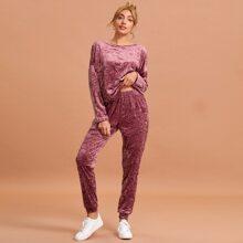Solid Wrinkle Velvet Pajama Set