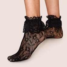 1pair Flower Pattern Ruffle Hem Mesh Socks