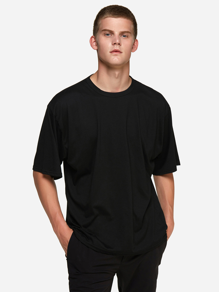 Yoins Black Solid Color Crew Neck Short Sleeve Basic Style Men's T-Shirt