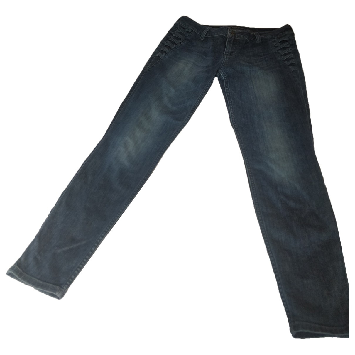 Guess \N Blue Cotton Trousers for Women 40 FR