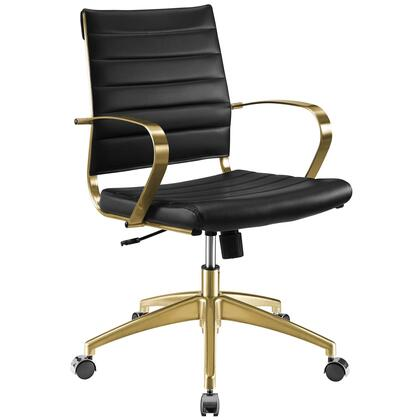 Jive Collection EEI-3418-GLD-BLK Gold Stainless Steel Midback Office Chair in Gold Black