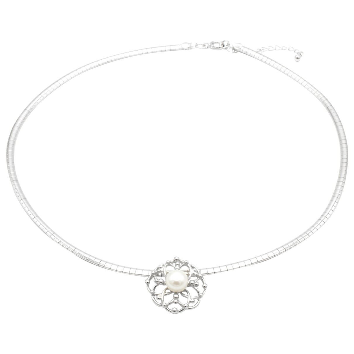 Non Signé / Unsigned Motifs Floraux Silver Silver Plated necklace for Women \N