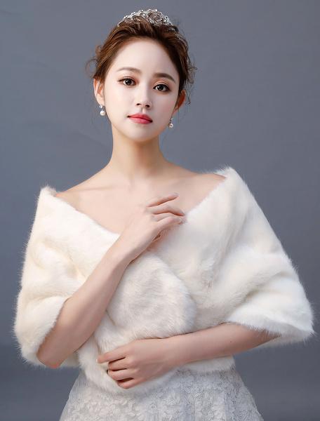 Milanoo Abrigo de novia de piel sintetica Manton de invierno Cubierta nupcial Ups