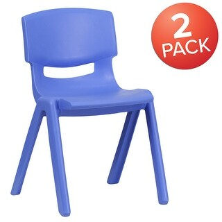 """2 Pack Plastic Stack School Chair with 13.25""""H Seat, K-2 School Chair (Blue)"""