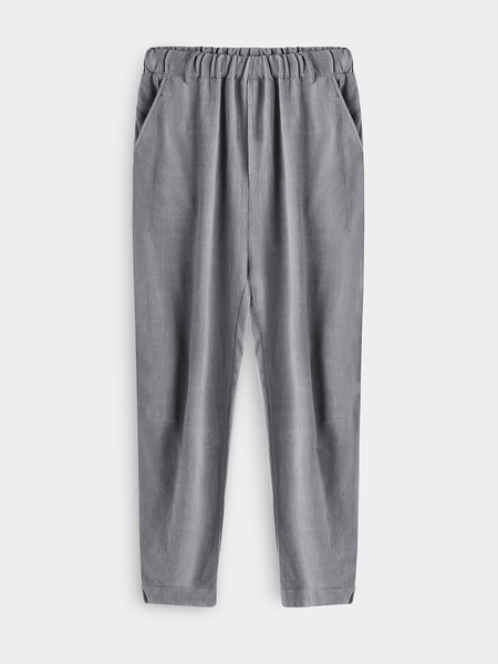 Yoins Solid Color Linen Men's Casual Harem Pnats In Gray