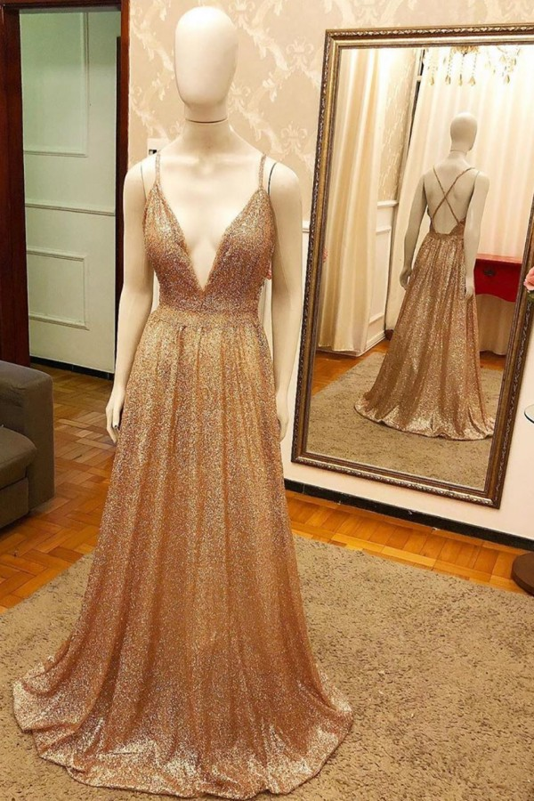 Trendy New Arrival Pluging V-neck Golden Sparkle Prom Dress with Criss-cross Back