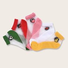 5 pares calcetines con estampado de fruta