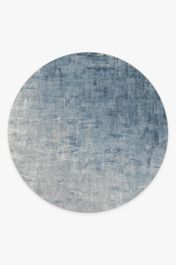 Washable Rug Cover | Impasto Slate Blue Rug | Stain-Resistant | Ruggable | 8' Round