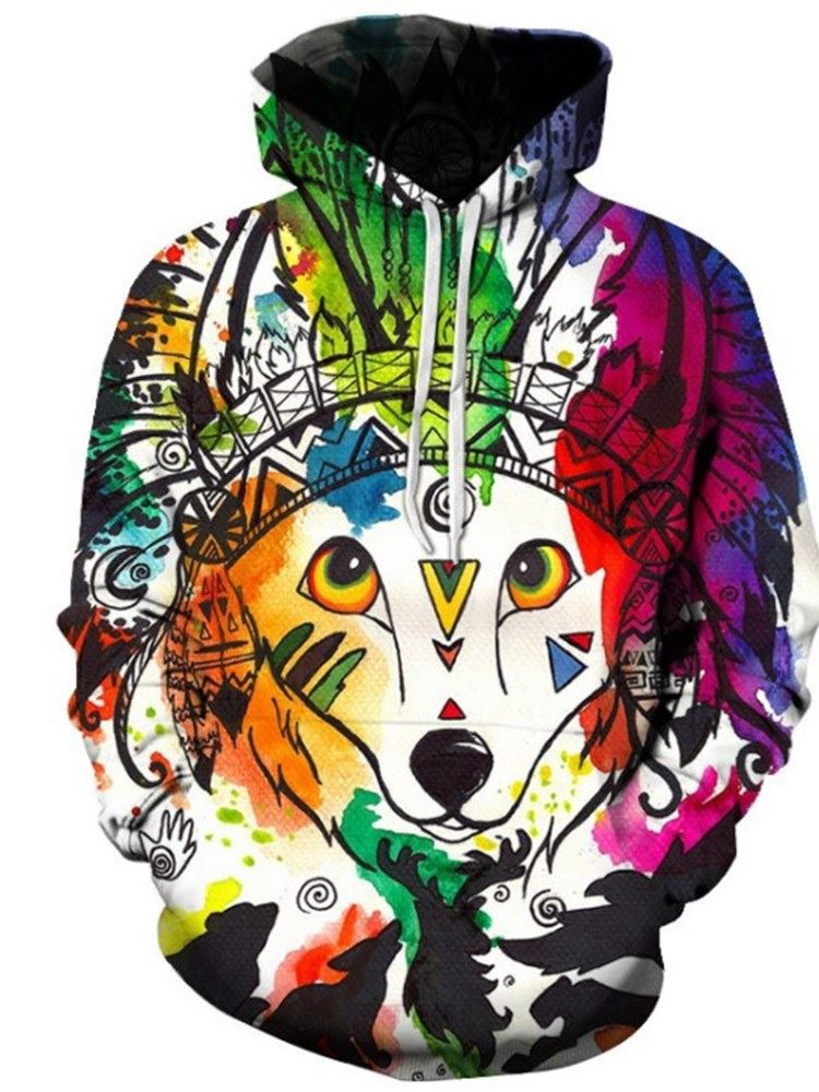 Creative and Colorful Animal Face 3D Printed Pullover Loose Men's Hoodies