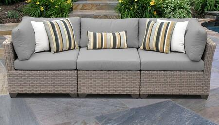Monterey Collection MONTEREY-03b-GREY 3-PC Patio Sofa with 2 Corner Chairs and 1 Armless Chair - Beige and Grey