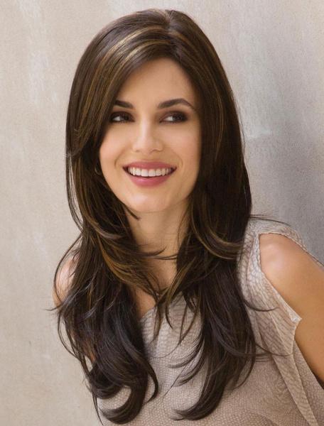 Milanoo Pelucas de pelo largo Tan Side Parting pelucas sinteticas rectas para mujeres