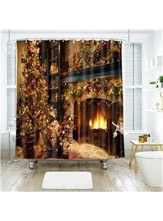 3D Waterproof Fabric Christmas Shower Curtain Festival Home Decor