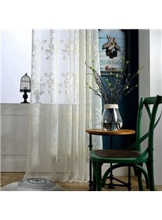 Modern Simple Embroidered Floral White Sheer Curtains for Living Room Bedroom