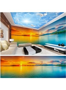 Blue Sky and Sunset Pattern 3D Waterproof Ceiling and Wall Murals