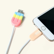 2pcs Ice Lolly Design Data Cable Protector