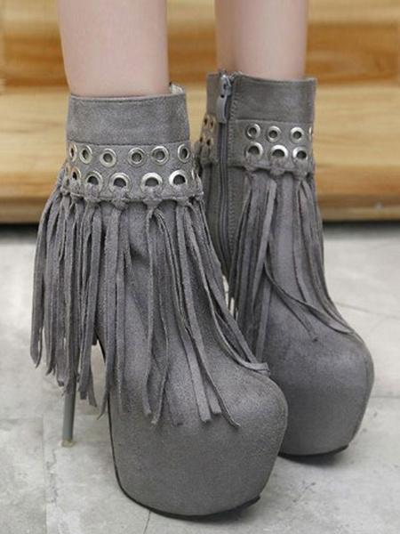 Milanoo Women Sexy High Heels Black Round Toe Suede Leather Upper Sexy Stiletto Heel