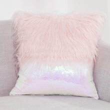 Sequin Faux Fur Cushion Cover Without Filler
