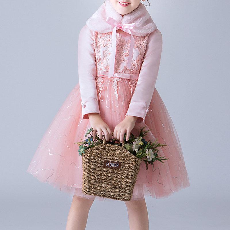 Flower Girl Dresses Kids Fancy Dress + Fur Collar For 3Y-13Y