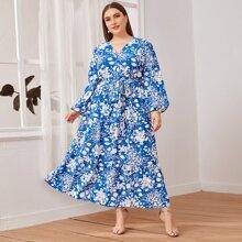 Kleid mit Laternenaermeln, V-Kragen, Selbstband und Blumen Muster