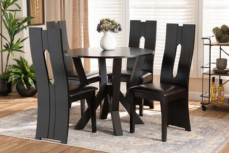 SENAN-DARK BROWN-5PC DINING SET Senan Modern and Contemporary Dark Brown Faux Leather Upholstered and Dark Brown Finished Wood 5-Piece Dining