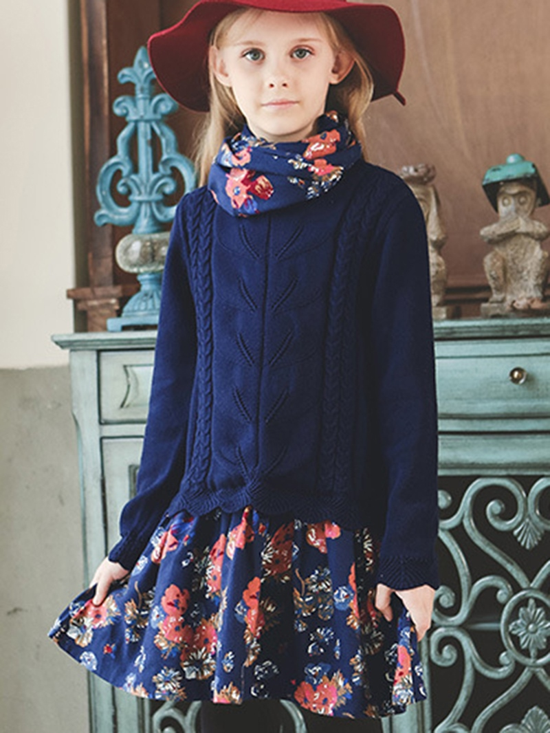 Ericdress Floral Print Sweater Patchwork Girls Dress