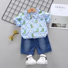 Toddler Boys Dinosaur Print Pocket Shirt With Shorts