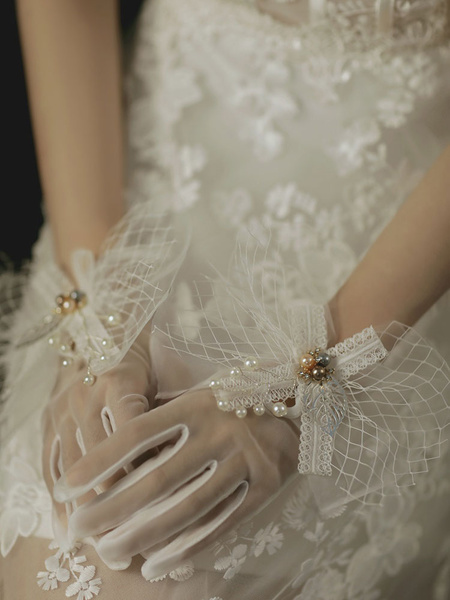 Milanoo Wedding Gloves Short Accessory Tulle Lace Bridal Gloves