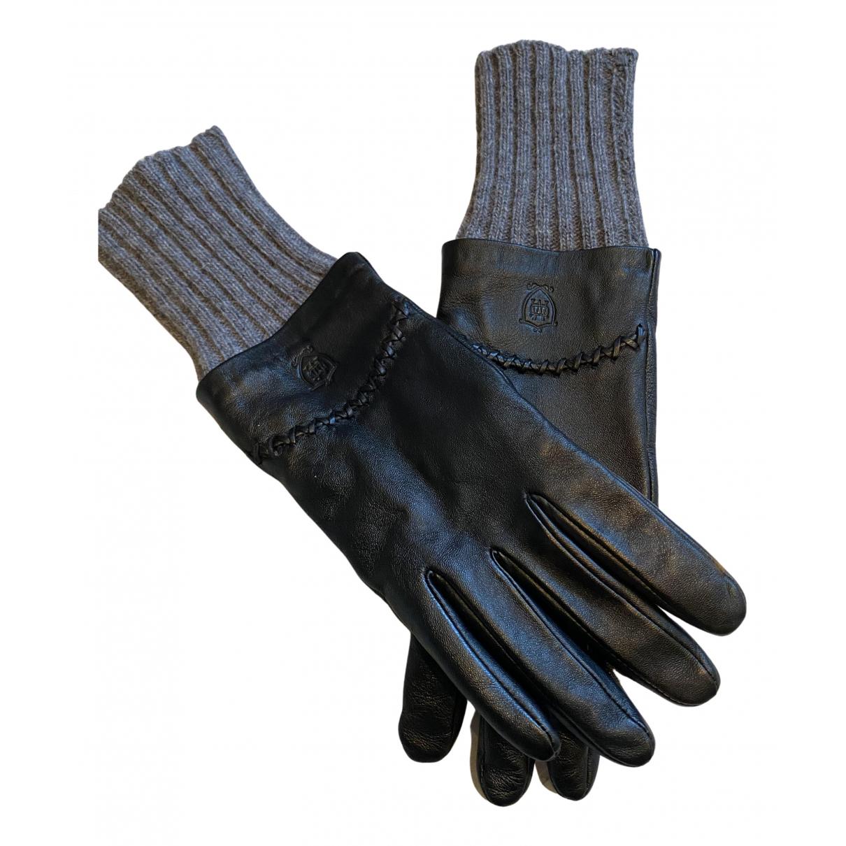 Massimo Dutti \N Handschuhe in  Schwarz Leder