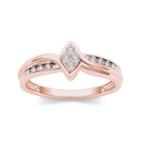 1/10 CT. T.W. Diamond 10K Rose Gold Engagement Ring, 6 1/2 , No Color Family