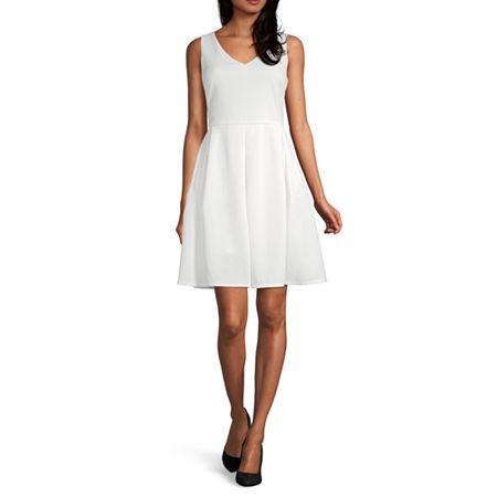 Liz Claiborne Sleeveless Fit & Flare Dress, 6 , White