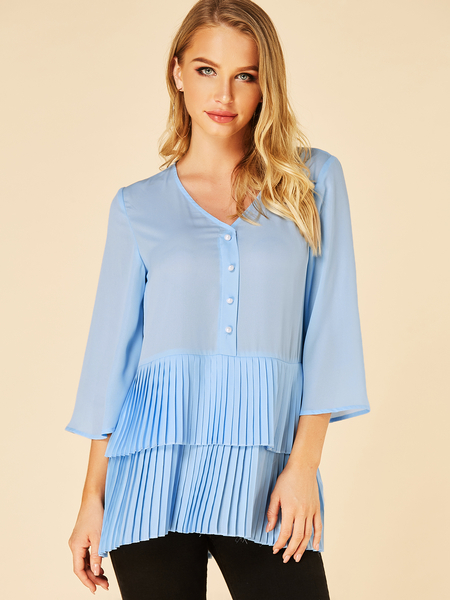 YOINS Blue Double Layer Pleated V-neck 3/4 Length Sleeves Blouse