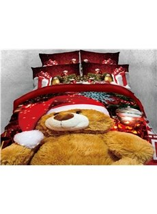 Brown Teddy Bear with Christmas Hat Printed 4-Piece 3D Bedding Sets/Duvet Covers