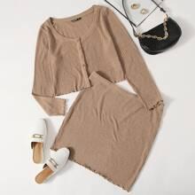 Plus Button Up Lettuce Trim Top & Skirt Set