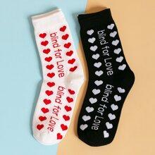 2 pares calcetines con patron de corazon