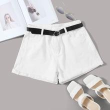 Solid Rolled Hem Denim Shorts With Belt