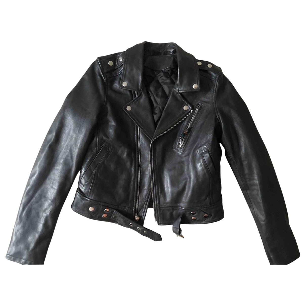 Blk Dnm \N Black Leather jacket for Women M International