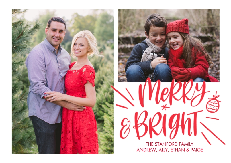 Christmas Photo Cards 5x7 Cards, Premium Cardstock 120lb with Elegant Corners, Card & Stationery -Christmas Merry Bright Ormanment by Tumbalina