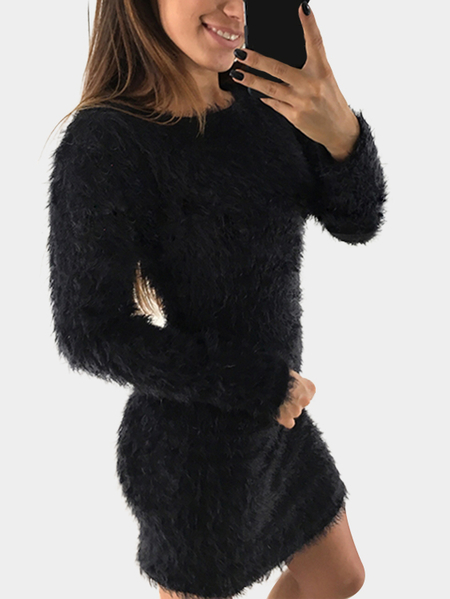 Yoins Black Round Neck Long Sleeve Fluffy Dress
