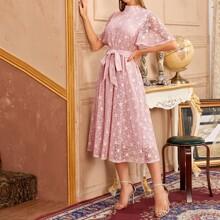 Mock-Neck Flutter Sleeve Self Belted Lace Dress