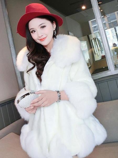 Milanoo Faux Fur Coat Women Turndown Collar Long Sleeve Fuzzy Coat