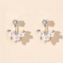 Ohrringe mit Strass & Blumen Dekor