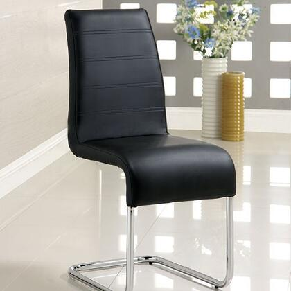 Mauna Collection CM8371BK-SC-2PK Set of 2 Padded Leatherette Side Chair with Chrome Legs in
