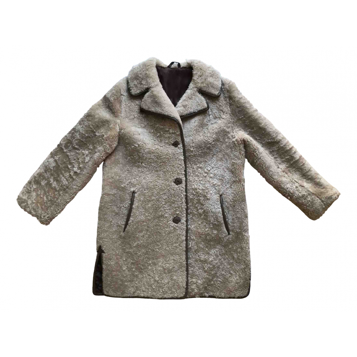Non Signé / Unsigned \N Beige Shearling coat for Women XL International