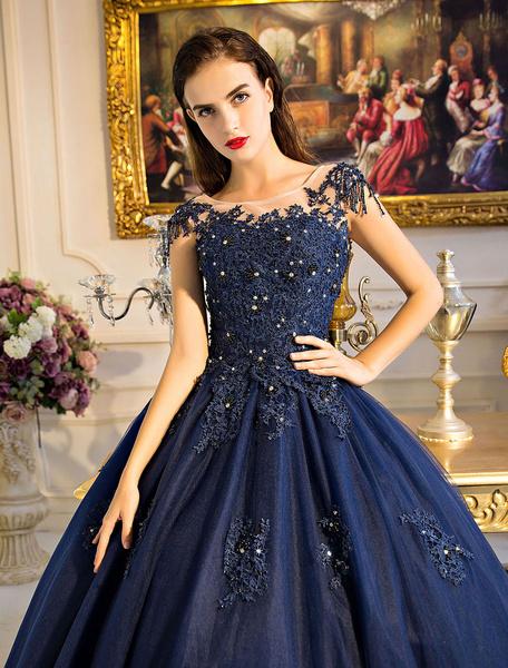Milanoo Vestidos de Ocasion de Lujo con escote redondo hasta el suelo de encaje sin mangas De banda de encaje de color azul marino oscuro